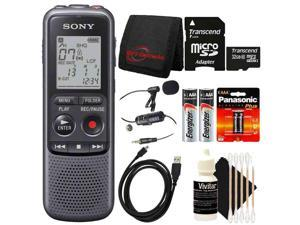 SONY ICD-PX240 Mono 4GB Digital Voice Recorder with Professional Lavalier Condenser Microphone and 32GB Bundle