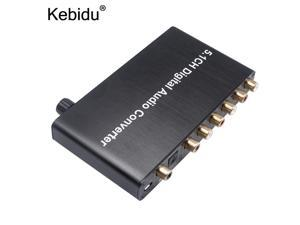 kebidu 5.1CH Digital Audio Converter Decoder AY77 SPDIF Coaxial to RCA DTS AC3 digital to 5.1 Amplifier Analog for PS3 DVD