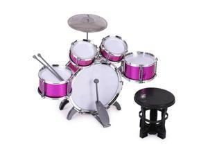Children Clear 5-pc Acrylic Drum Set with Drumsticks H5O1