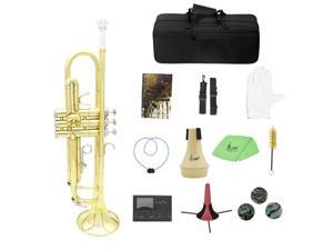 Brass Trumpet Bb B Flat with Mouthpiece Bag Tuner Mute Trumpet Stand Gloves V1T3