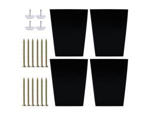 4 Inch Solid Wood Furniture Legs Square Tapered Bench Closet Cabinet Feet Replacement Height Adjuster Set of 4