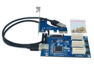 External & Internal 1 to 3 PCI express 1X slots Riser Card Expansion adapter PCI-e Port Multiplier