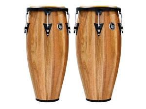latin percussion lpa647sw aspire wood congas 11inch and 12inch set with double stand  siam walnut/black