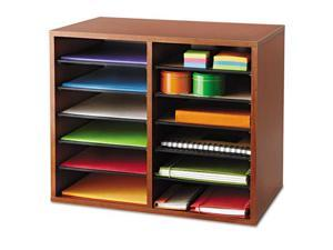 Wood Adjustable Literature Organizer - 12 Compartment in Cherry by Safco