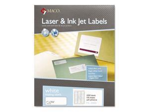 "Maco MML-3000 1"" x 2 5/8"" White Label 30 Labels - 100 Sheets"