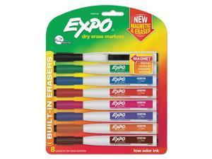 Magnetic Dry Erase Fine Marker With Eraser 8/Pkg-Assorted