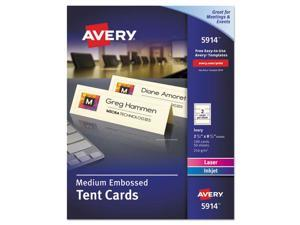Avery Medium Embossed Tent Cards Ivory 2 1/2 x 8 1/2 2 Cards/Sheet 100/Box 5914