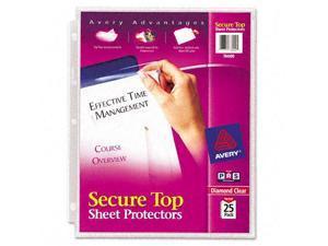 Avery Dennison - 76000 - Secure Top Sheet Protectors, Super Heavy Gauge, Letter, Diamond Clear, 25/Pack