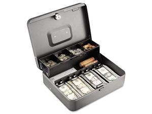 Tiered Cash Box w/Bill Weights, Cam Key Lock, Charcoal 2216194G2