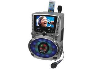 Karaoke USA - GF758 - KARAOKE USA GF758 DVD/CD+G/MP3+G Bluetooth(R) Karaoke System with 7 TFT Color Screen & LED Sync