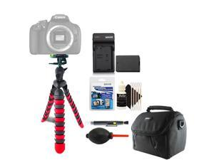 Flexible Tripod + Replacement Battery for LP-E10 Battery + Lens Pen + Dust Blower + Universal Screen Protector + Gadget Bag + 3pc Cleaning Kit
