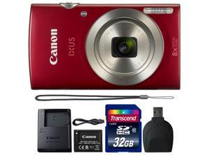 Canon IXUS 185 / ELPH 180 20MP Digital Camera Red with 32GB Accessory Bundle