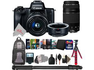 Canon EOS M50 Mirroless Digital Camera w/ 15-45mm + EOS M Adapter + 75-300mm Lens Accessory Bundle