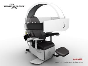 """MWE Lab Emperor XT Motorised Ergonomic Workstation / Gaming Chair - Alpine White - Integrated Sound System - Pre wired to support up to 3x30"""" monitors"""