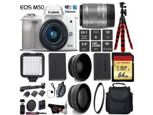 Canon EOS M50 Mirrorless Digital Camera (White) with 15-45mm Lens + LED + UV FLD CPL Filter Kit + Wide Angle & Telephoto Lens + Camera Case + Tripod + Card Reader - International Version