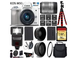 Canon EOS M50 Mirrorless Digital Camera (White) with 15-45mm Lens + Flash + UV FLD CPL Filter Kit + Wide Angle & Telephoto Lens + Camera Case + Tripod + Card Reader - International Version