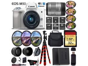 Canon EOS M50 Mirrorless Digital Camera (White) with 15-45mm Lens + UV FLD CPL Filter Kit + 4 PC Macro Kit + Wide Angle & Telephoto Lens + Camera Case + Tripod + Card Reader - International Version