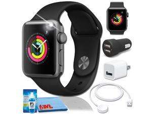 Apple Watch Series 3 (42mm, Silver Aluminum) White Band Charger Bundle