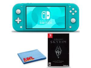 Nintendo Switch Lite (Turquoise) Bundle with 6Ave Cleaning Cloth + The Elder Scrolls V: Skyrim