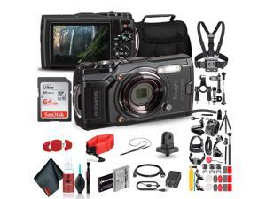 Olympus Tough TG-6 Waterproof Camera (Black) - Action Bundle - With 50 Piece Accessory Kit +  Extra Battery + Float Strap + Sandisk 64GB Ultra Memory Card + Padded Case + More