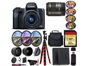 Canon EOS M50 Mirrorless Digital Camera with 15-45mm Lens + UV FLD CPL Filter Kit + 4 PC Macro Kit + Wide Angle & Telephoto Lens + Camera Case + Tripod + Card Reader - International Version