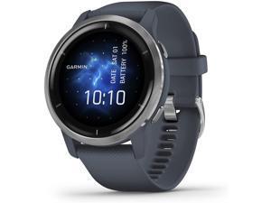 Garmin Venu 2, GPS Smartwatch, Silver Bezel with Granite Blue Case and Silicone Band, (010-02430-00)