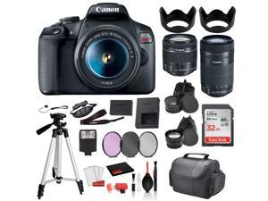 Canon EOS Rebel T7 Digital SLR Camera with 18-55mm Lens and EF-S 55-250mm   SanDisk 32gb SD + 3PC Filter  + MORE