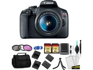 Canon EOS Rebel T7 EF-S 18-55mm IS II Kit with 2x 64GB Memory Card + Extra Battery and Charger + More - International Model