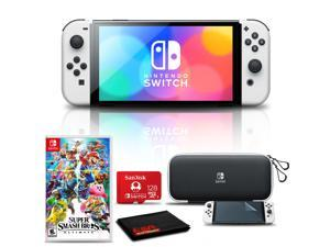 Nintendo Switch OLED White with Super Smash Bros, 128GB Card, and More