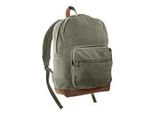 Rothco Vintage Canvas Teardrop Backpack w/Leather Accents, Olive Drab/Brown