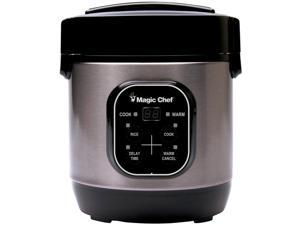 Magic Chef MCSRC03ST 3 Cup Cooked Non Stick Steamer Rice Cooker, Stainless Steel