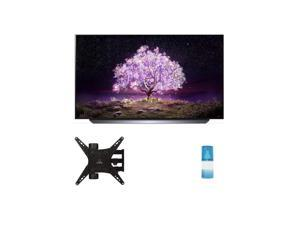 """LG OLED55C1PUB 55"""" 4K Ultra High Definition OLED Smart C1 Series TV with a Walts TV Medium Full Motion Mount for 32""""-65"""" Compatible TV's and a Walts HDTV Screen Cleaner Kit (2021)"""