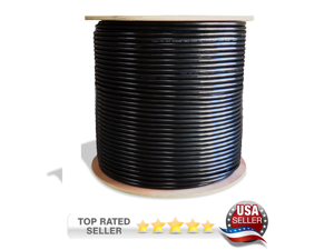 Dripstone CAT6A 1000ft STP Shielded Wire Double Jacket Outdoor / Direct Burial Pure Copper Ethernet Cable 23AWG CMXT Waterproof Wire Pass Fluke Test