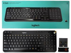 Logitech K360 Wireless USB Desktop Keyboard — Compact Full Keyboard, 3-Year Battery Life (Glossy Black)