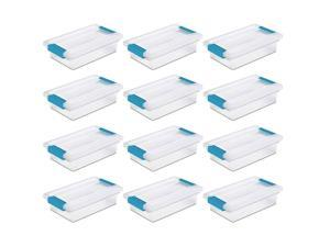 Sterilite Mini Clip Plastic Storage Box Clear w/ Blue Aquarium Latches (12 Pack)