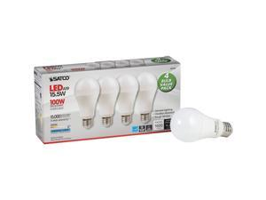 Satco 100W Equivalent Natural Light A19 Medium LED Light Bulb (4-Pack) S28790