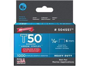 Arrow T50 Heavy-Duty Stainless Steel Staple, 1/4 In. (1000-Pack) 504SS1