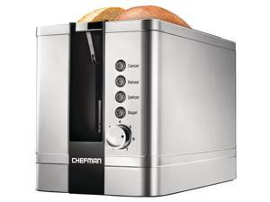 chefman 2slice popup stainless steel toaster w/ 7 shade settings extra wide slots for toasting bagels, defrost/reheat/cancel functions, removable crumb tray, 850w, 120v, silver