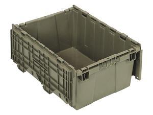 """Attached Lid Container, Gray, 9-5/8""""H x 21-1/2""""L x 15-1/4""""W, 1EA"""