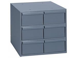 "Durham Steel Drawer Bin Cabinet, 11-3/4""W x 11-1/2""D x 10-3/4""H, 6 Drawers, Gray"