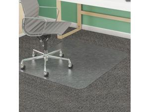 """Deflecto Rectangular Chair Mat, Clear, For Carpet with Padding Up to 1"""" Thick"""