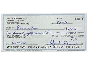 Gary Carter Montreal Expos Signed Personal Check # 10047 BAS