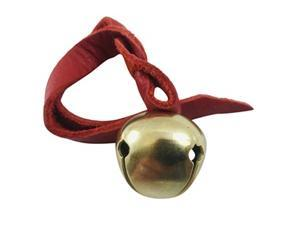 Believe Ornament Brass Sleigh Bell on Leather Cord Christmas Tree Decoration with Gift Bag