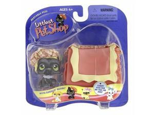 Littlest Pet Shop Pets On The Go Figure Black Scottie Scottish Terrier with Hat and Carry Case Hard to Find