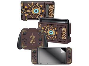 """controller gear nintendo switch skin & screen protector set officially licensed by nintendo  the legend of zelda: breath of the wild: """"sheikah slate"""""""
