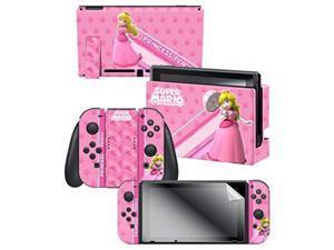 "controller gear skin & screen protector set  super mario ""princess peach"", pink  nintendo switch"