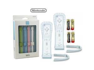 nintendo wii/wii u/wii mini motion plus controllers 2 pack plus 4 free color strap