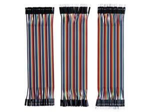 elegoo elcp004 120pcs multicolored dupont wire 40pin male to female, 40pin male to male, 40pin female to female breadboard jumper wires ribbon cables kit for arduino