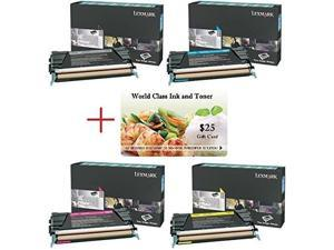 wci best value pack of all 4 genuine lexmark toners + free $25 restaurant gift card. 1 each of: 24b5807/24b5804/24b5805/24b5806. kcmy. for use in: lexmark cs736/xs734/xs736/xs738/xs748 series.