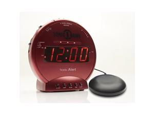 sonic bomb loud dual alarm clock with vibrating bed shaker red  sbb500ssr